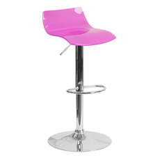 Flash Furniture Transparent Acrylic Adjustable Height Barstool With Chrome Base Hot Pink Bar