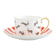 Fox and Rabbits Tea Cup and Saucer, Gold on Outside of Handle