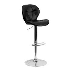 OffexContemporary Tufted Black Vinyl Height Adjustable Bar Stool W Chrome Base