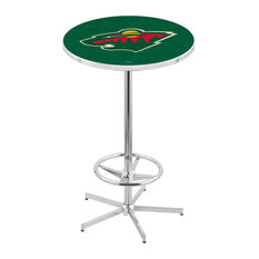 L216 - 42-inch Chrome Minnesota Wild Pub Table By Holland Bar Stool Co.