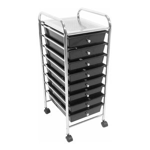Drawer Storage Unit with Chrome Plated Frame and 8 Drawers, Modern Design
