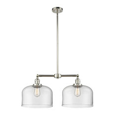 Large Bell 2-Light LED Chandelier, Polished Nickel, Glass: Clear