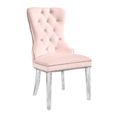 Abbyson Living Andre Tufted Velvet Dining Chair With Acrylic Legs, Pink