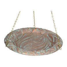 "15"" Diameter, 24"" Chain Butterfly Hanging Birdbath, Copper Verdi"