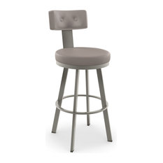 Tower Swivel Stool, Base: Titanium/Matte Light Gray, Counter Height, Seat: Warm