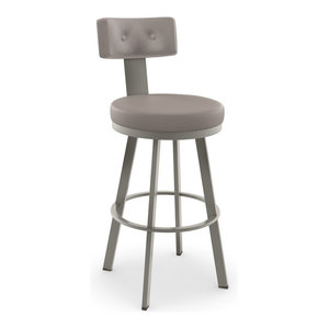 Tower Swivel Stool, Base: Titanium/Matte Light Gray, Counter Height, Seat: Warm