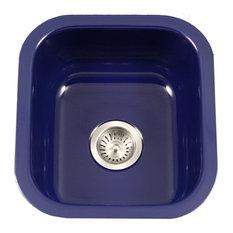 Houzer PCB-1750 NB Porcela Porcelain Enamel Steel Undermount Bar Sink, Navy Blue