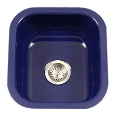 Houzer PCB-1750 NB Porcela Porcelain Enamel Steel Undermount Bar Sink, Navy Blue