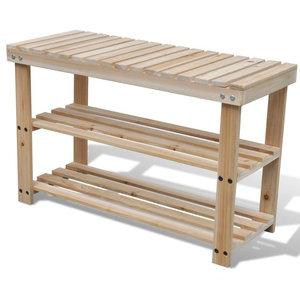 VidaXL 2-in-1 Wooden Shoe Rack With Bench Top Durable