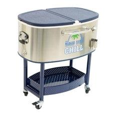 Shelter Logic Margaritaville Rolling Party Stainless Steel Cooler