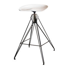 Kahn Bar Stool with White Seat Grey Concrete and Blackened Steel Base