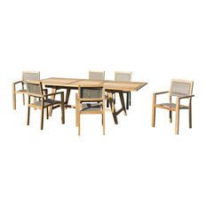 Scandi Taupe 7-Piece Outdoor Dining Set With Extendable Table