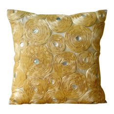 the homecentric ribbon gold rose flower gold shams art silk 24x24 - Gold Decorative Pillows