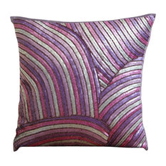 Purple Art Silk 50x50 Multicolor Sequins And Beaded Cushions Cover, Plum Cheer