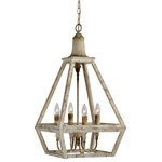 Out of the Woodwork Designs - Addison Wood Chandelier - The Addison Chandelier is a geometric shaped light fixture featuring a weathered white finish. It can be hung alone or in a group to add that bit of charm you are searching for.