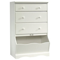 Dresser, 3-Drawer Whimsical Curves and a Solid Wood Knob, Soft White Finish
