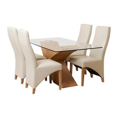 Valencia Glass, Oak Dining Table, 4 Lola Chairs, 160 cm, Ivory Leather