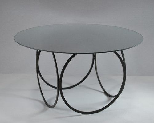table basse design ronde miroir et métal - Table Basse