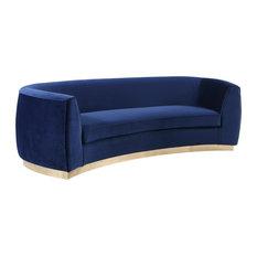 Julian Velvet Sofa, Navy, Gold Base