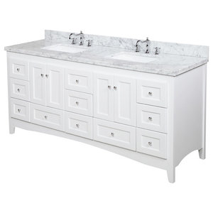 "Abbey 72"" Double Bath Vanity, Base: White, Top: Carrara Marble"