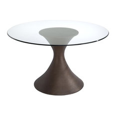 Brownstone Casablanca Round Dining Table With A Glass Top, Base & Glass