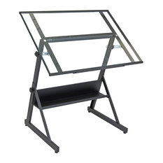 Studio Designs Solano Adjustable Drafting Table Charcoal/Clear Glass