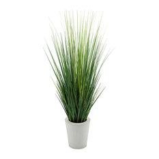 """Artificial 44"""" Grass in Cream Round Zinc"""