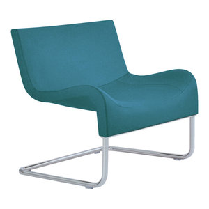 Marmaris Chair, Chrome Plated Steel Tubes Base, Turquoise Camira Wool