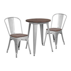 Rubber And Wood Table Set In Silver Finish CH-WD-TBCH-7-GG