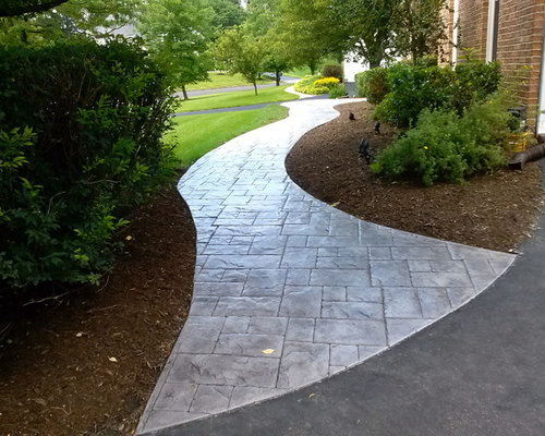 Stamped concrete walkway houzz - Stamped concrete walkway ideas ...