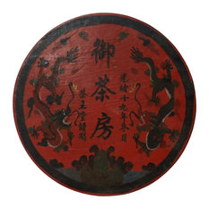 Chinese Distressed Red Characters Graphic Round Shape Box Hcs4719