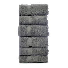Dobby Border Luxury Hotel and Spa Hand Towel, Set of 6, Gray