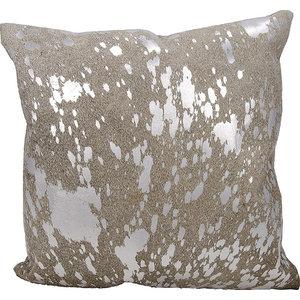 Mina Victory Couture Natural Hide Metallic Splash Gray/Silver Throw Pillow