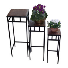 3-Piece Slate Square Plant Stands With Slate Tops, Black Metal