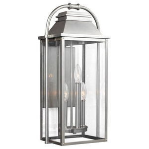 Wellsworth Three Light Outdoor Wall Lantern Painted Brushed Steel Clear Glass