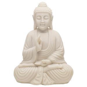 Meditating Buddha Statue in White