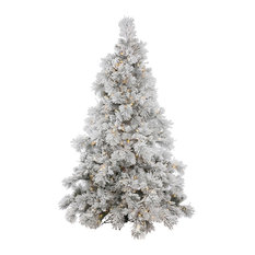 Flocked Alberta Tree With Pinecones, 15', Warm White Led Lights