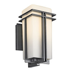 "Kichler Tremillo Outdoor Wall 1-Light, 5.75""x11.75"", Black, Satin Etched Opal"