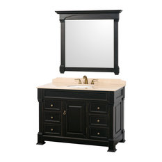 "Andover 48"" Single Bathroom Vanity, Black, Ivory Top, Oval Sink, 44"" Mirror"