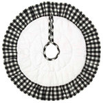 "VHC Brands - Emmie Black 21"" Ruffled Mini Tree Skirt - Countrify your Christmas this year with the 21"" Emmie Black Ruffled Mini Tree Skirt. A bright white cotton base is hand-quilted, then trimmed with black and white check ruffles. Reverses to the black and white check found on the ruffles. 100% cotton."
