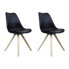 Scandi Style Dining Side Chair, Pyramid Beech Wood Legs, Black, Set of 2