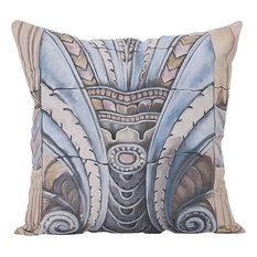 Art Deco Ornament Pillow, Hand-Painted Art
