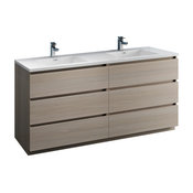 """Fresca Lazzaro 72"""" Gray Wood Cabinet With Integrated Double Sink"""