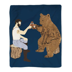 "Having a Bear, Beer, Fleece Blanket, Printed in USA, 60""x80"""