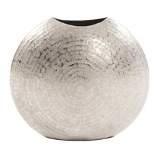Howard Elliott Frosted Silver Metal Vase, Small