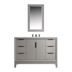 Elizabeth 48-inch Single Sink Carrara White Marble Vanity Cashmere Gray
