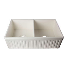 """ALFI AB537-B Biscuit 32"""" Fluted Apron Double Bowl Fireclay Farmhouse Sink"""