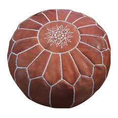 Bazaarmorocco - Unstuffed Moroccan Leather Footstool Ottomans Pouf Brown - Floor Pillows and Poufs