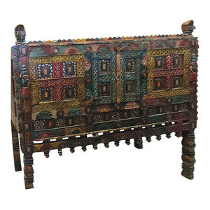 Mogul Interior - Consigned Antique Jaipur Wine Chest, Damchia Banjara Painted Tribal Sideboard - Buffets And Sideboards