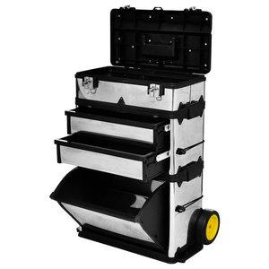 VidaXL 3-Part Rolling Tool Box With 2-Wheel